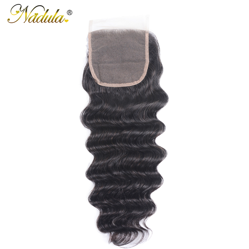 Nadula Hair 4*4 Lace Closure Loose Deep     Hair Free Part Swiss Closure Natural Color 10-20inch 1
