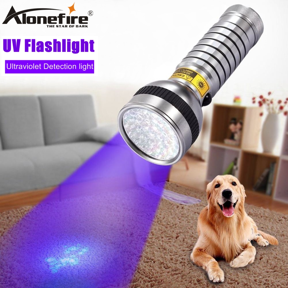 ALONEFIRE 41 Led Lumina UV 395 400nm Lanternă ultravioletă Cat Dog urină pentru animale Scurgere de bani Scorpion Detector Torță AA baterie