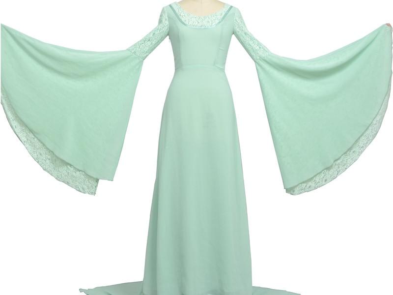 Властелин колец Arwen зеленое платье костюм платье ручной работы на заказ для женщин - 4