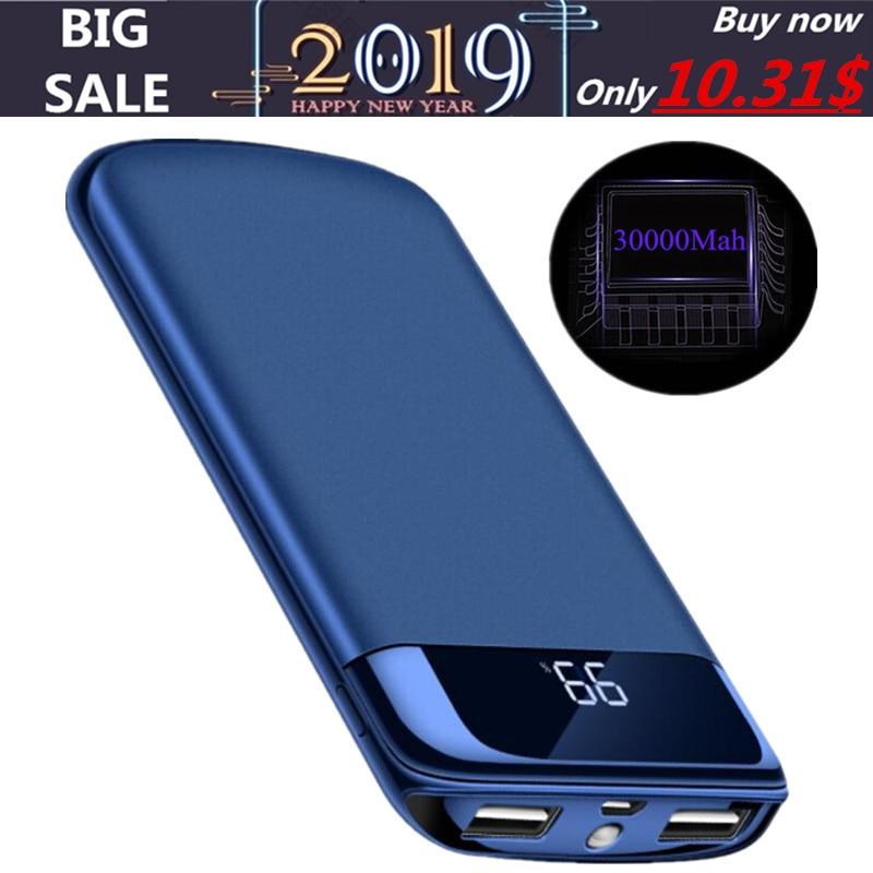 Realmente mah 30000 batería externa del Banco de potencia PoverBank 2 USB LCD Powerbank cargador de teléfono móvil portátil para Xiao mi iphone X