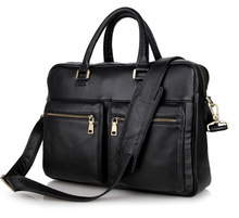 "men briefcase genuine leather black business men's bag 14"" laptop computer bag men messenger bags cowhide office bags #MD-J7270"