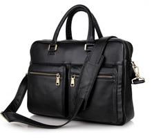"men briefcase genuine leather black business men's bag 14"" laptop computer bag men messenger bags cowhide office bags #MD-J7270"