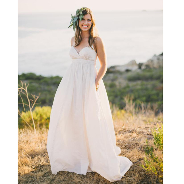 Us 135 0 2017 Maternity Beach Wedding Dresses Vintage Plus Size Spaghetti Straps V Neck Ivory Taffeta Country Style A Line Bridal Gowns In Wedding