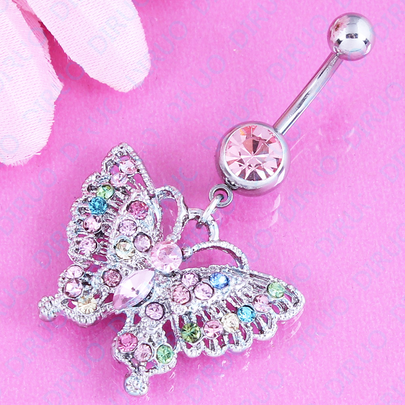 Free shipping Lovely Hollow Butterfly Belly Button Ring Navel Stud Body Piercing Jewelry navel belly ring 316L Stainless steel