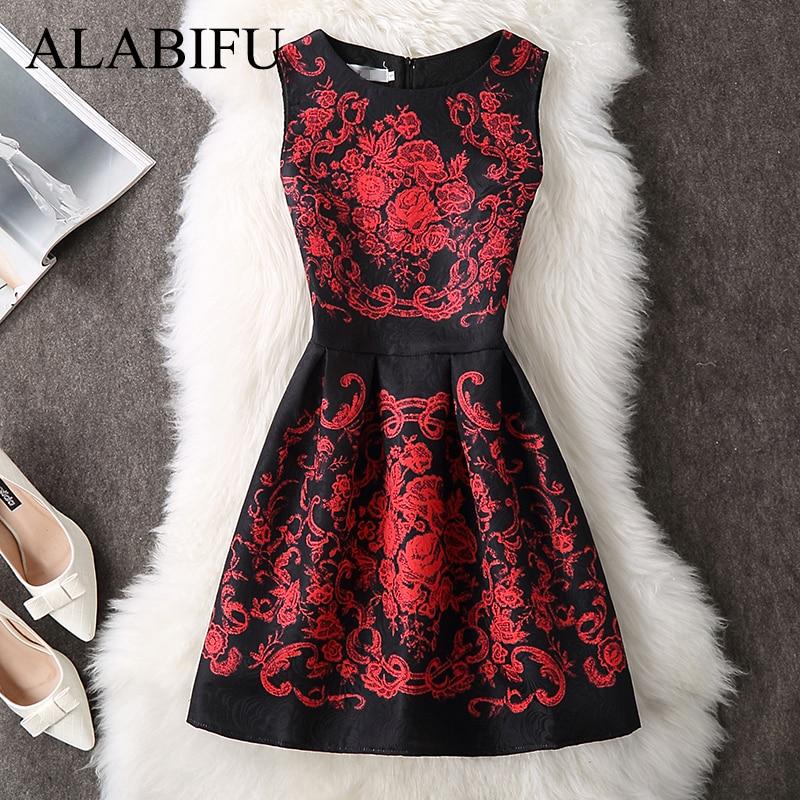 ALABIFU Primavera Verano vestido de las mujeres 2018 Sexy elegante Casual vestido Floral Vintage Sleveeless vestidos de fiesta Plus tamaño vestidos de 5XL