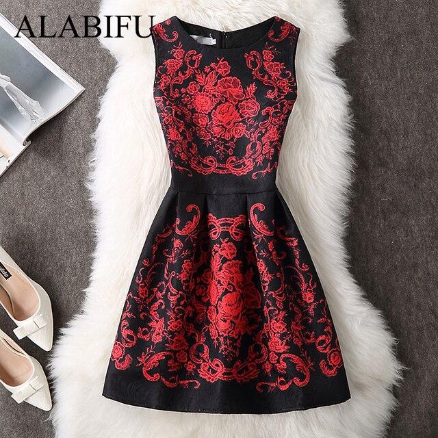 ALABIFU Summer Dress Women 2019 Sexy Casual Floral Dress Vintage Sleveeless Party Dresses Plus Size Black vestidos ukraine 5XL