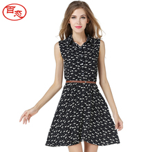 BAITAI Women Summer Dress Sleeveless Stand Collar Cats Print Slim Casual Girls Dress Female Clothing with Belt