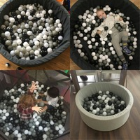 150Pcs 7CM Baby Safety PE Anti Stress Ocean Ball Black Grey White Inflatable Air Balls For Pool Pit Kids Outdoor Game Toys Gift