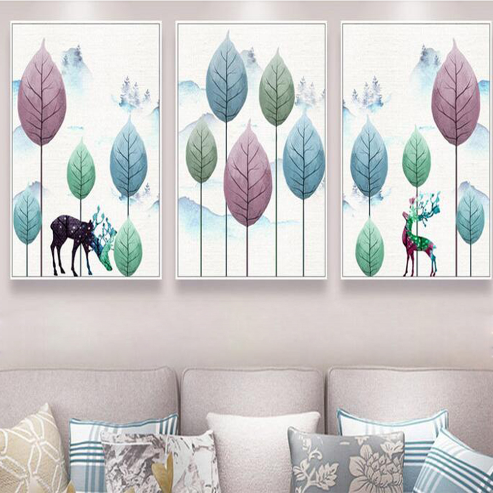 Unframed Minimalist Art Paintings Nordic Reindeer Canvas Hand Painted Forest Oil Painting For Living Room Decoration Painting