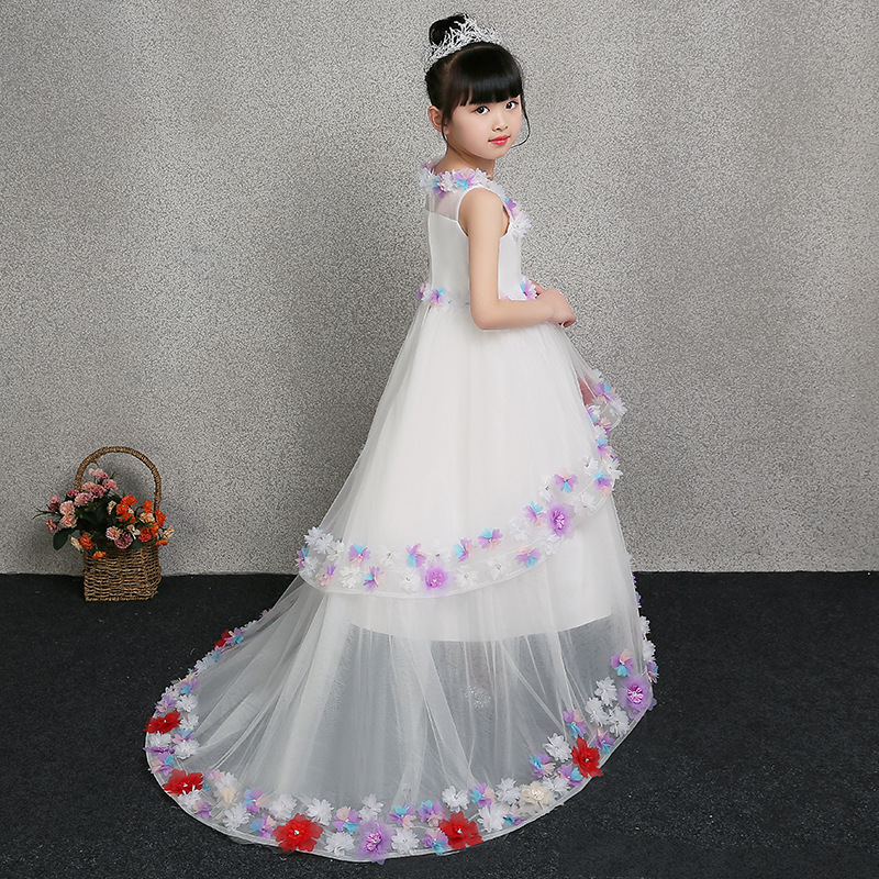 1-12 Years Flower Girl Dress Kids Pageant Dress Appliques Girls Gown Dress Ball Gown Wedding Long Tailing Party Girl's Dresses girl party dress age 3 to 12 years flower girl dresses for party wedding purple colors christams children tailing princess dress