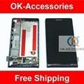 Original para Huawei Ascend P6 pantalla LCD + pantalla táctil + Frame asamblea digitalizador 1 PC/Lot Color blanco rosado negro envío gratis