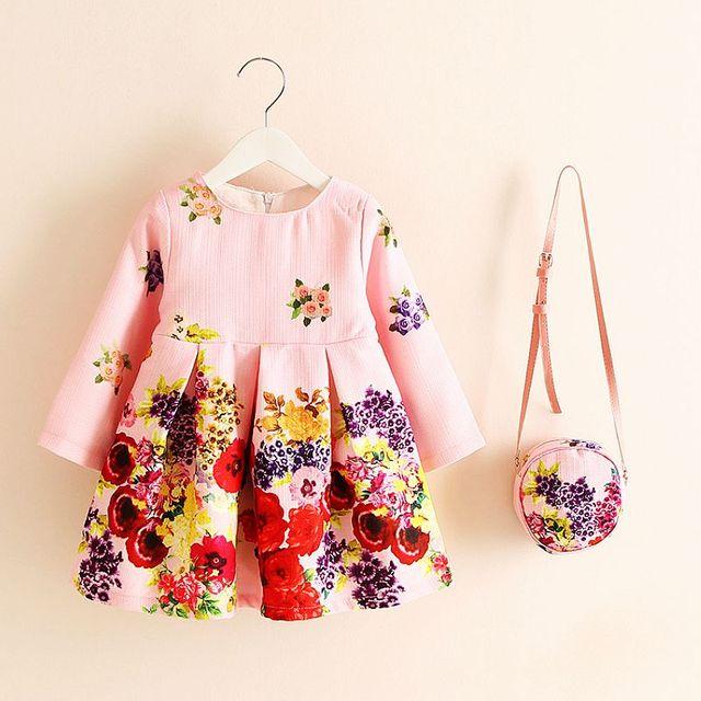 Long Sleeve Dress Girl Christmas Dress 2016 Autumn Winter Floral Print Toddler Girl Dresses Kids Clothes Children Dress with Bag
