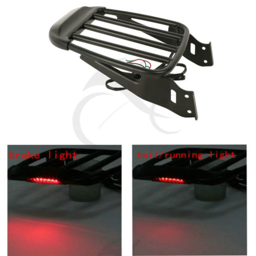 TCMT Motorcycle Black Two-Up Luggage Rack w/ LED Light For Harley Sportster XL Dyna Super Glide Street Bob Softail Classic FLSTC kodaskin carbon 3d adesivi sticker decal emblem protection tank pad gas cap z1000 2012 2015