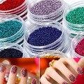 12 diferencia de Color Acrílico Gel Glitter Nail Polvos de Perlas Decoración Set para 3D Nail Art Rhinestone y Decoración
