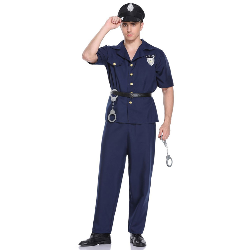 Umorden Mens Police Officer Cops Costume Policeman Uniform Halloween Carnival Purim Mardi Gras Party Outfit