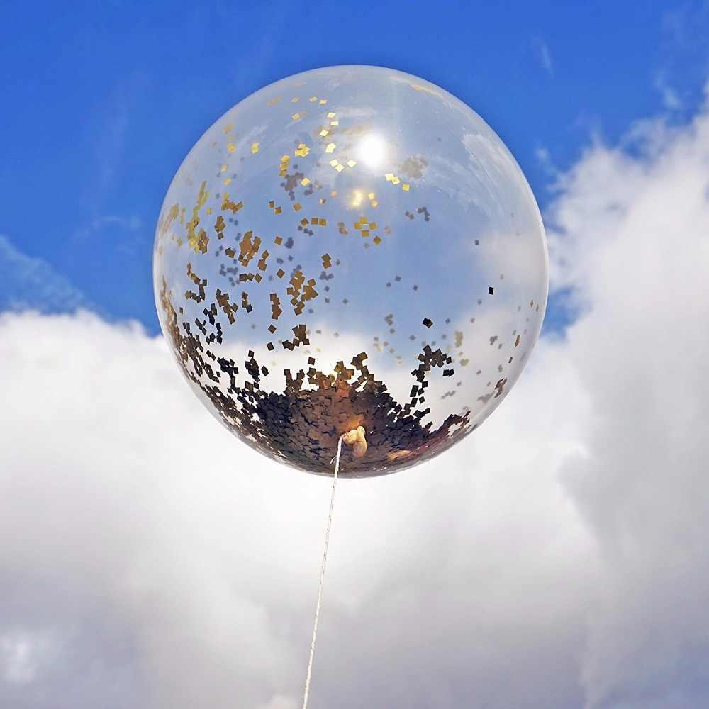 1 stücke 18 zoll Konfetti Gefüllt DIY Kit Luftballons Gold Mylar Flakes Klar Farbe Ballon für Überraschende Jahrestag Event party