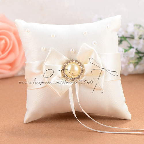 Free shipping 10 10cm ivory wedding ring pillow detalles for Aana decoration wedding accessories