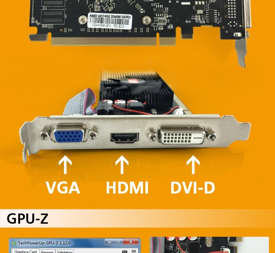 Original Graphics Card HD7450 With 2GB DDR3 64bit for ATI Radeon 8