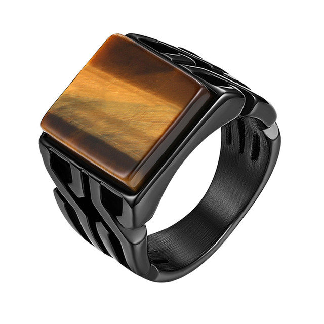 brixini.com - Tiger Eye Stone Punk Ring