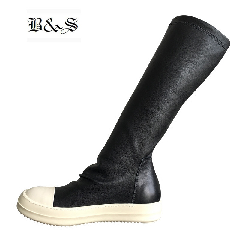 Black& Street 2018 Women Street Punk Hip Hop Genuine Leather + Stretch Fabric High Sock Boots Slip On Owen Slim Boots slip on winter boots stretch lycra