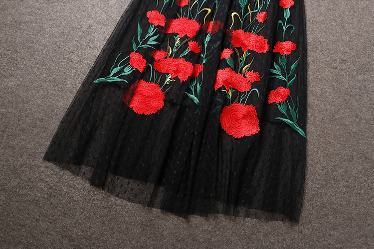 Long Sleeve Sexy Mesh Carnation Embroidery Slim Black Long Dress 8
