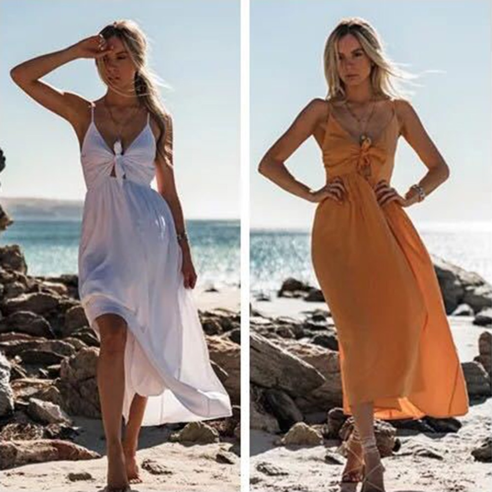 Sexy Style Women Long V Neck Dress Summer Ladies Beach Vest White Orange Dress Sleeveless Collect High waist Maxi Dress s-xl