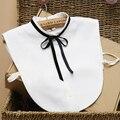 Bonito Estilo Preppy Fita Destacável Bow Camisas de Colarinho Branco Falso Colarinho da Camisa para As Mulheres Falso Coleiras