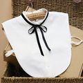 Cute Preppy Style Detachable Ribbon Bow Collar White Fake Collar Shirt for Women Fake Shirts Collars
