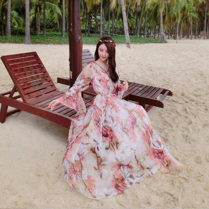 Summer chiffon flare sleeve bohemia plus size beach full maxi dress celebrity graduation Dinner Dress Beach
