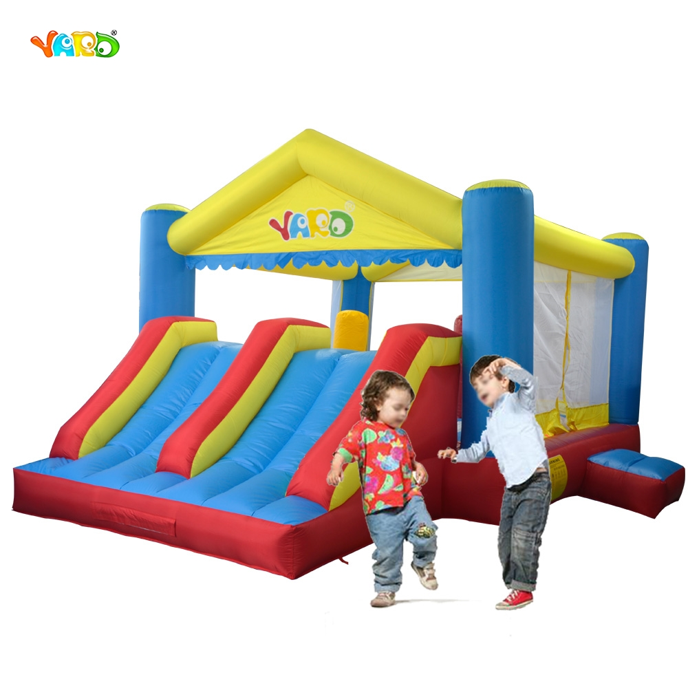 YARD Inflatable Toy Games Castle Bouncer House Jumper With Doublel Slides Inflatable Trampoline PVC Oxford Kids Chirstmas Gift sexy mixed color stiletto heels sandal open toe ladies summer gladiator sandals rope knot ankle strappy shoes woman