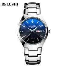 Роскошные модные часы черные серебристые полностью стальные