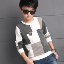 Boys Patchwork sweaters Kids Childrens Clothing Boy Autumn Checked Knit Sweater T