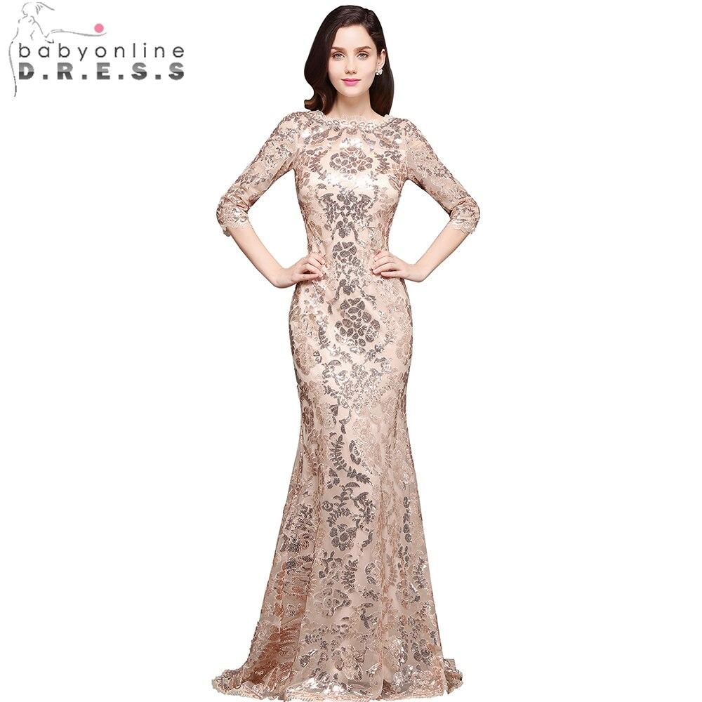 Babyonline 2019 3/4 Sleeves Sequin Mermaid   Evening     Dresses   Long Formal   Dress   Embroidery   Evening   Party   Dresses   vestido de festa