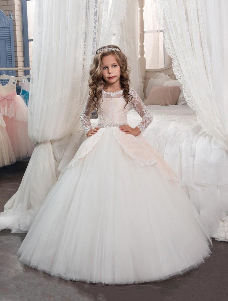 2019   Flower     Girl     Dresses   Long Sleeves Sheer Jewel Neck Princess First Communion   Dresses   Little   Girls   Ball Gown Party   Dress