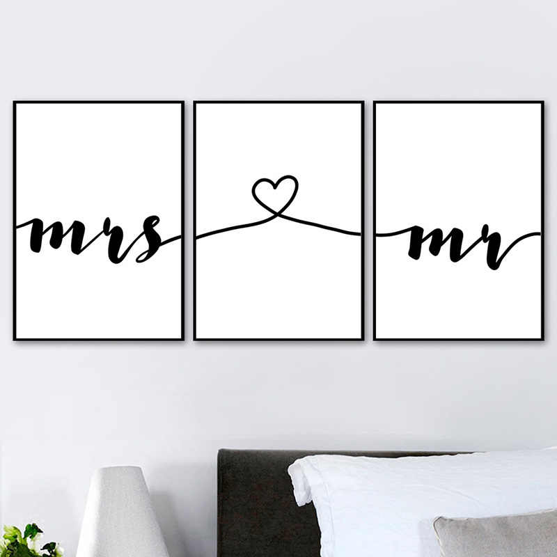 Wall Art Canvas Painting Nordic Posters Prints Mr Mrs Romantic Love Quotes Pictures For Living Room Home Wedding Decoration