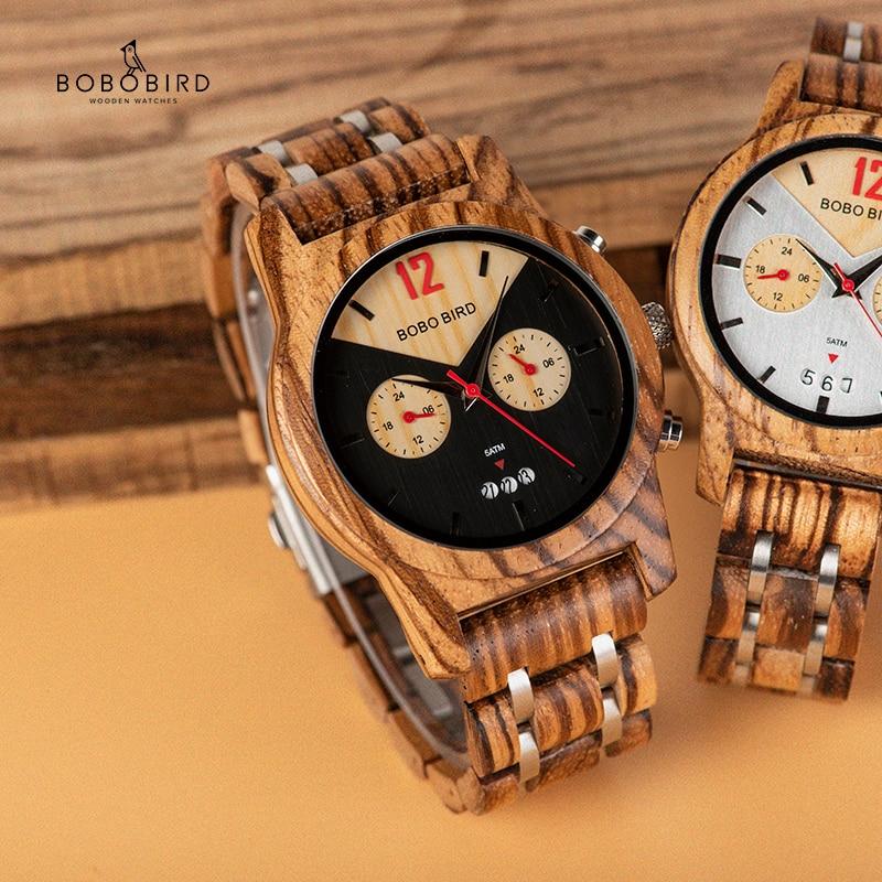 BOBO oiseau montre en bois hommes femmes de luxe montres chronographe Date Quartz montre bracelet de luxe polyvalent garde temps grands cadeaux-in Montres à quartz from Montres    1