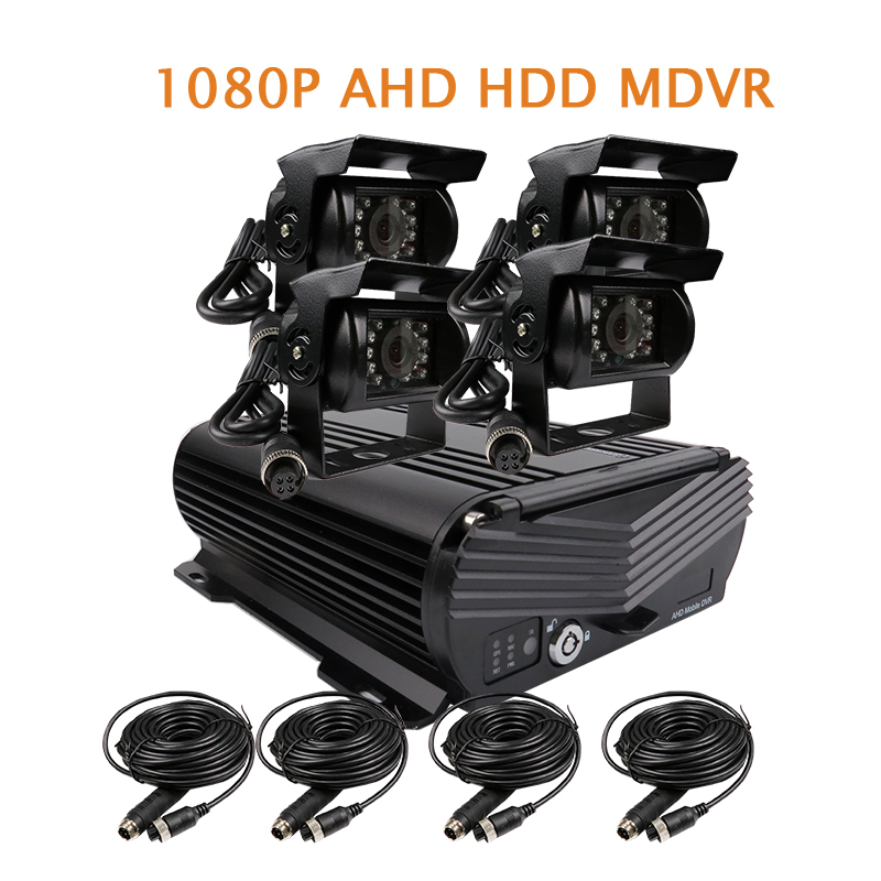 Free Shipping 4 Channel H.264 1080P 2.0MP AHD 2TB HDD Hard Disk Car DVR Video Recorder Car Side Rear View Camera for Truck Bus protector s1004v 4 ch h 264 hard disk digital video recorder w wired mouse black