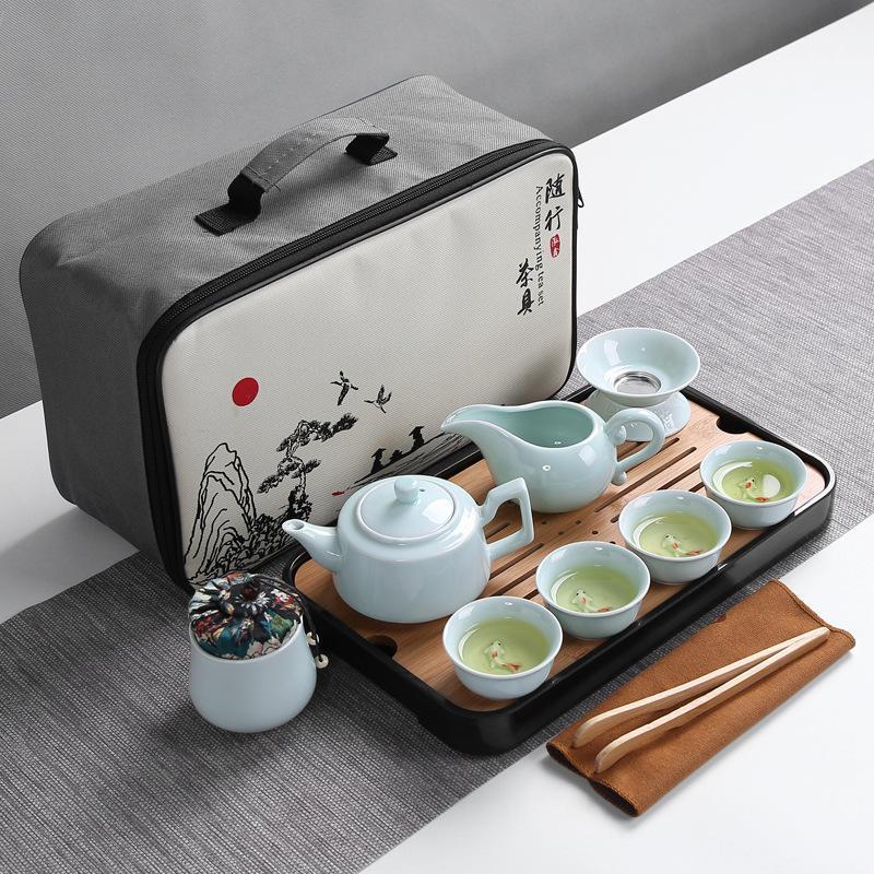 Ceramics Tea Set Portable Travel Home Office Cups Chinese Kung Fu Teapot Porcelain Teaset Teaware Sets