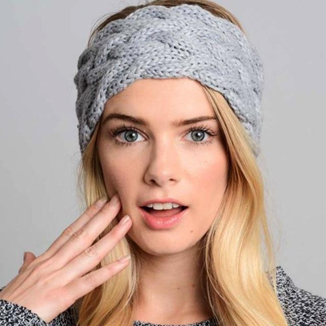 Ancho sólido punto de lana diadema invierno del oído caliente ...