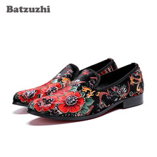 Batzuzhi Handmade Men Shoes Fashion Genuine Leather Loafers Print Flowers chaussure homme Party Casual Leather Shoes Men, Big 46 genuine leather print leather men flat shoes mocassin homme fashion loafers casual flats pointed toe party shoes plus size 38 46