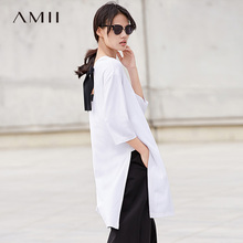 Amii Minimalist Women 2018 Spring Blouse Solid Long Straps Slits Female Blouses Shirts