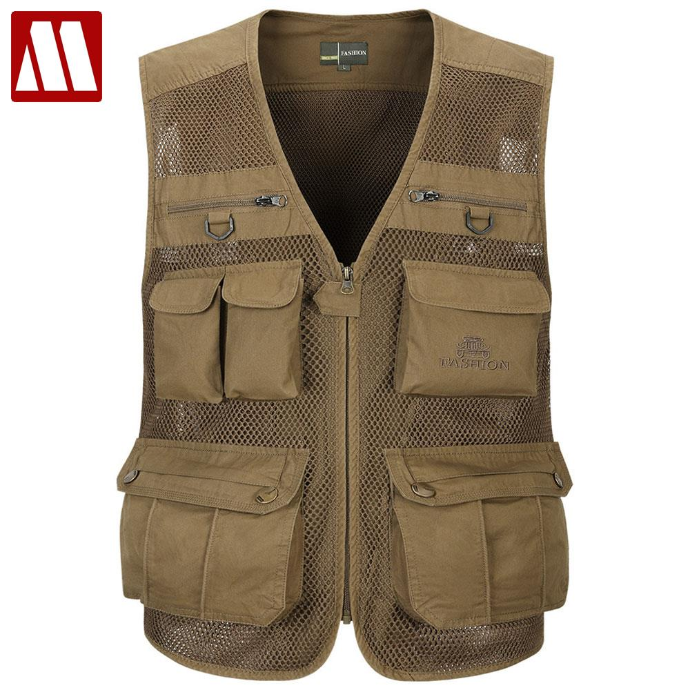 Free Shipping New Style Men Military Vests Spring Autumn Multi pocket Vest Casual Photographer Waistcoat Asian/Tag Size M XXXXL-in Vests & Waistcoats from Men's Clothing    1