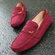 цены 2019 Fashion Casual Men Shoes Man Driving Shoes Summer Breathable Flats Shoes Soft Suede Leather Men's Loafers Slip On Moccasins