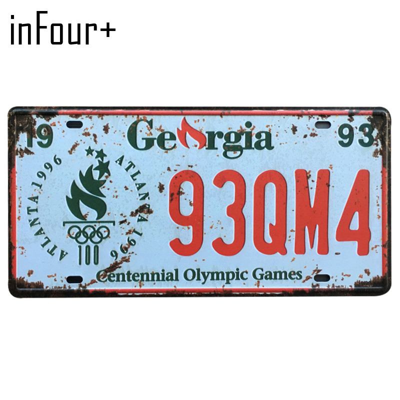 [inFour+] 93QM4 License Plate Metal Plate Car Number Tin Sign Bar Pub Cafe Home Decor Metal Sign Garage Painting Plaques Signs