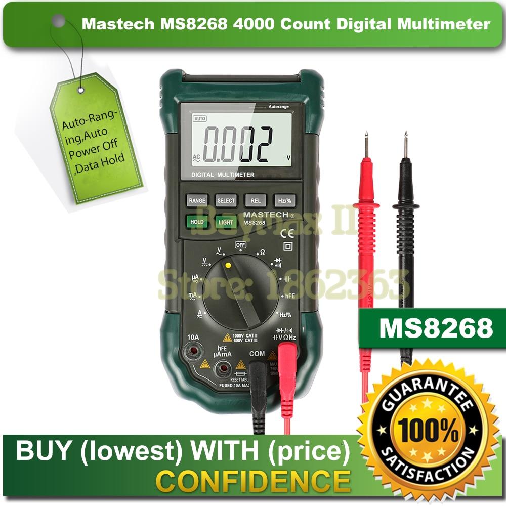 Mastech MS8268 Digital AC DC Auto Manual Range Digital Multimeter with hFE Data Hold Relative Measurement