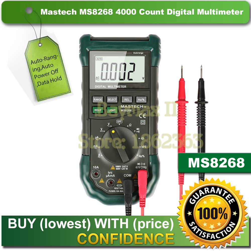 <font><b>Mastech</b></font> <font><b>MS8268</b></font> Digital AC/DC Auto/Manual Range Digital Multimeter with hFE,Data Hold,Relative Measurement and Auto Power Off image