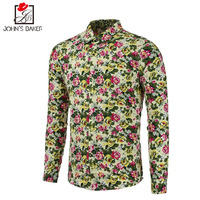 2017 New Fashion Brand Men Shirt Printing Dress Shirt Long Sleeve Slim Fit Camisa Masculina Casual
