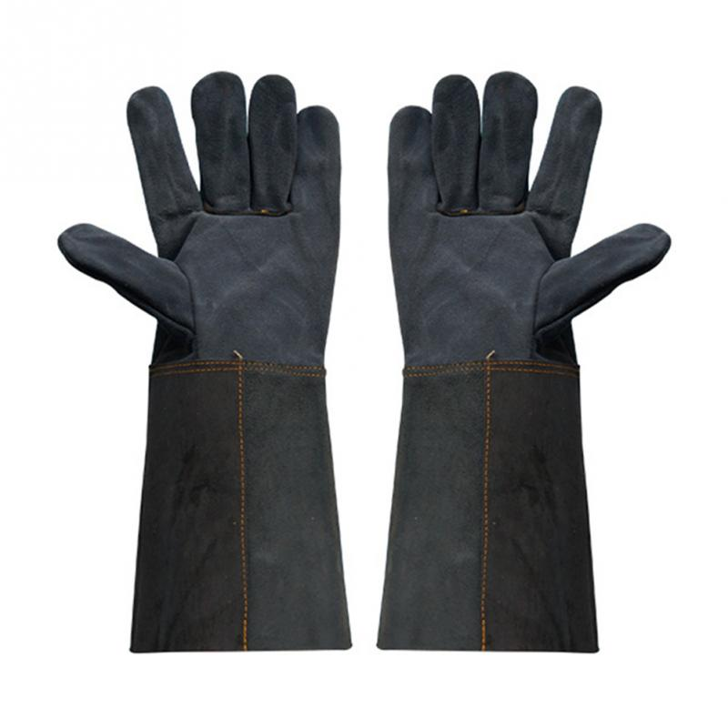 1 Pair Welding Glove Worker Leather Barbecue Gloves Working Garden Protective Anti-scald Splash Proof Long Sleeve Glove