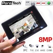 IPC1800ADH plus Monitor de pantalla táctil profesional Cctv, 4 pulgadas, H.265, 4K, 8Mp, Tvi, Cvi, Ahd, Cvbs, probador de cámara Ip con PTZ