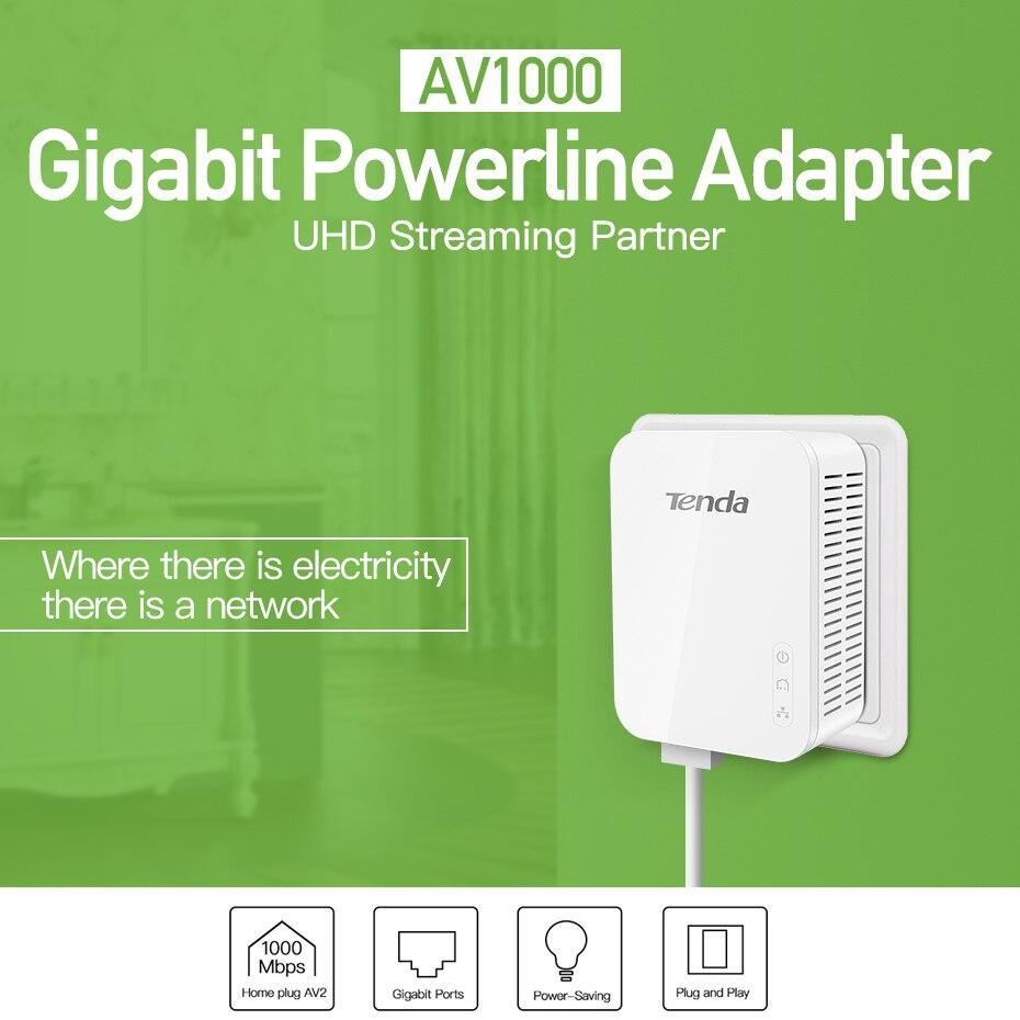 Tenda AV1000 1 par Gigabit Powerline adaptador hasta 1000Mbps PH3 Ethernet PLC Homeplug para Router WiFi inalámbrico socio IPTV AV2 - 2